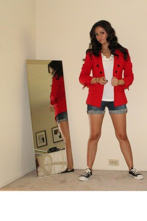 red Express blazer - Express shirt - Random denim shorts shorts - H&amp;M earrings