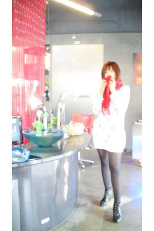red sweater - white dress - black leggings - black boots