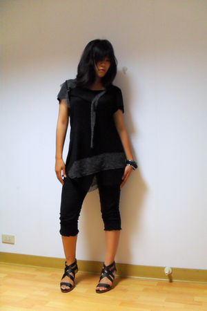 black dress - black pants - black shoes