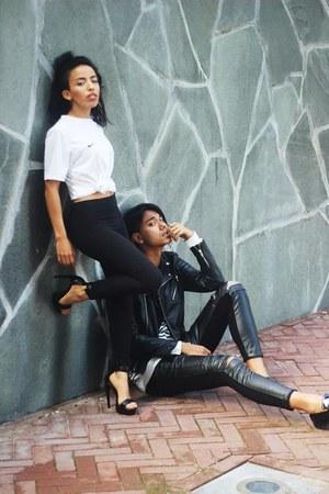 white nike t-shirt - black H&M Trend jacket - black Zara pants
