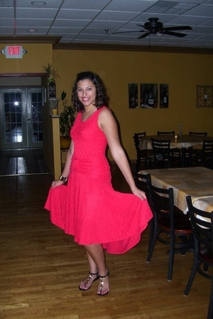 red Blondie&Me dress - black Steve Madden shoes