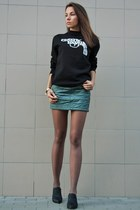 teal quilted Bershka skirt - black Crooks and Castles sweatshirt