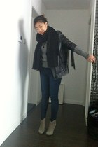 charcoal gray ASH boots - navy Topshop jeans - black acne jacket - black cashmer