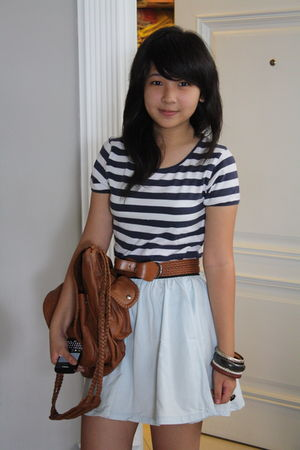 blue cotton on skirt - brown Mango bag - brown unbranded belt - white Zara t-shi