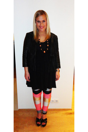 black Andrea dress - black H&M jacket - coral Andrea leggings - bronze SIX neckl
