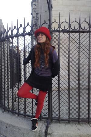 hat - ruca t-shirt - Mango skirt - supra shoes - Gap jacket