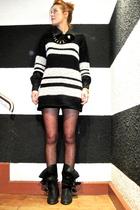black oversize Zara sweater - black biker Zara boots - black pili&mili shirt