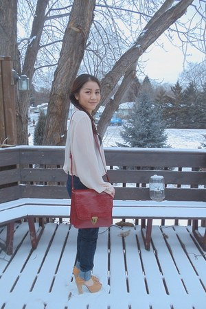 brick red Steve Madden purse - mustard korea shoes