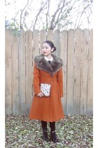korea boots - fur coat thrift coat - leather tights Rag Stock tights