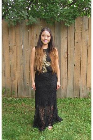 black Forever 21 top - silver DIY hair accessory - black Marshalls skirt