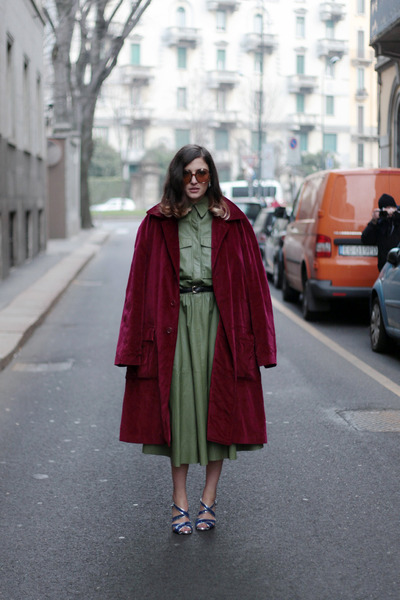 ruby red velvet Moschino coat - olive green leather Trussardi dress