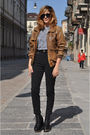 Black-dr-denim-leggings-black-jeffrey-campbell-shoes-brown-vintage-jacket-