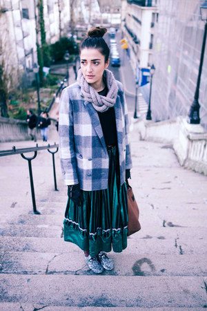 silver wool check sessun jacket - silver wool kling scarf