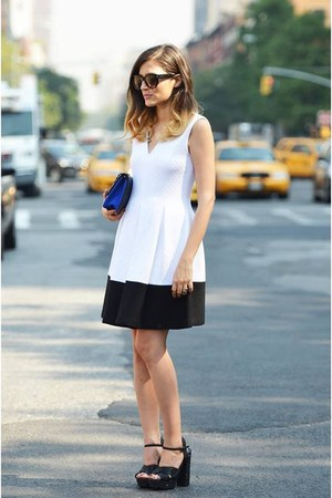 white neoprene Raoul dress - black sparkling Steve Madden shoes