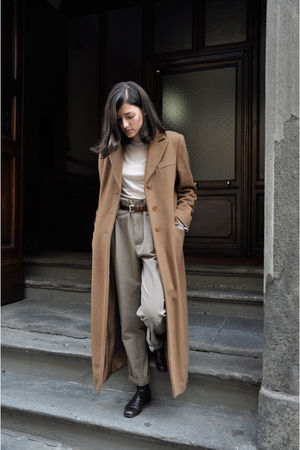 brown armani coat - brown armani shoes - beige Zara pants - beige aspesi shirt
