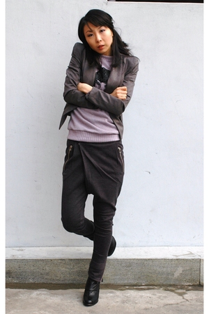gray T7Angels blazer - gray T7Angels pants - purple 1st Shop top
