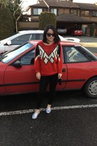 bling bling TOMS shoes - vintage sweater - Moschino bag