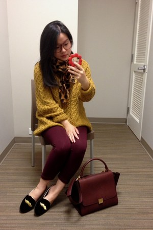 crimson Celine bag - mustard H&M sweater - brick red Forever 21 leggings