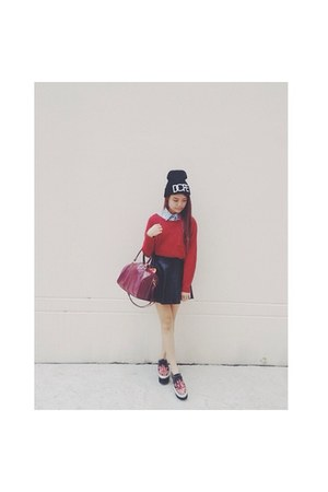 burgundy Burgundy Sweater sweater - creepers shoes - Dope hat