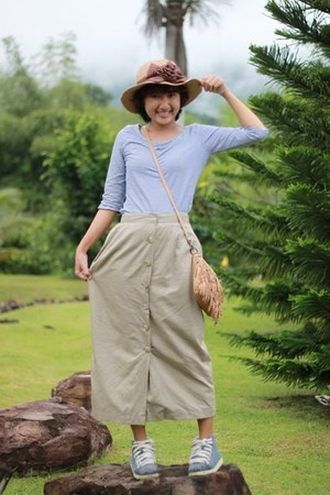 tan hat - sky blue shoes - bronze bag - beige skirt - light blue top