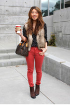 H&M vest - ecco boots - blank nyc leggings - Gemma shirt - Louis Vuitton bag