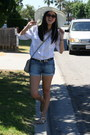 Off-white-sunhat-hat-white-shirt-blue-denim-cuffed-gap-shorts
