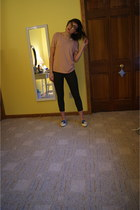 off white Chloe loafers - pink St John sweater - army green JCrew pants