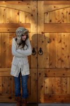 Urban Outfitters hat - kohls sweater - American Eagle jeans - Macys boots