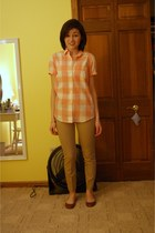 light pink JCrew shirt - camel JCrew pants - brown Steve Madden flats - ivory ca