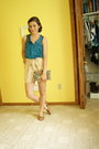 Aquamarine-thrifted-vintage-bag-beige-h-m-shorts-light-brown-old-navy-flats-