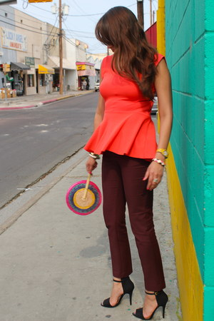 carrot orange Zara top - crimson Zara pants - black Zara heels