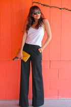 black wide leg Gap pants - white richard chai Target top