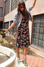 Black-floral-urban-outfitters-dress-light-blue-denim-old-navy-jacket