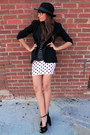 Light-pink-polka-dot-forever-21-dress-black-kate-landry-hat
