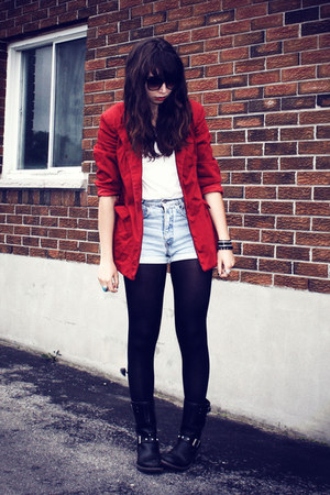 red thrifted blazer - black Aldo boots