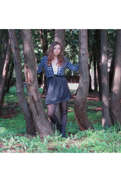 vintage cardigan - blue notes t-shirt - Sirens skirt - Bluenotes tights - vintag