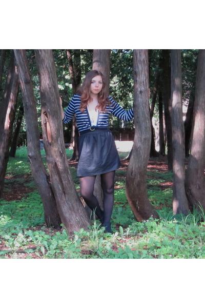 vintage cardigan - blue notes t-shirt - Sirens skirt - Bluenotes tights - vintag