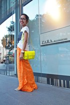 yellow Steve Madden bag - orange no brand skirt - white Mango t-shirt
