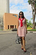 navy prints bag kate spade bag - light pink flared dress Zara dress