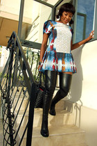 black long leather strategia boots - blue GEEKS & STITCHES dress