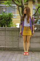 French Connection shirt - vintage cardigan - mustard Wego skirt