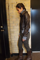 dark brown pleather Black Rivet jacket - forest green cargo skinny Mossimo pants