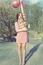 lime green H&M scarf - light pink H&M blouse - pink Zara skirt