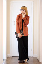 black Only dress - burnt orange Zara blazer - black new look purse