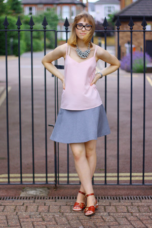 light pink M&S top - silver Uniqlo skirt