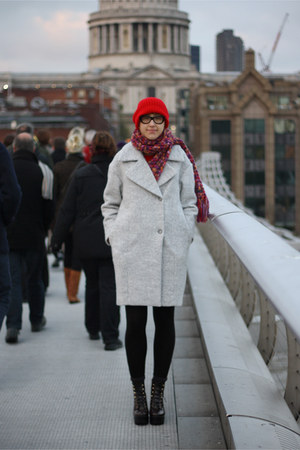 silver H&M coat - crimson red or dead boots - red asos hat