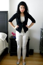 black blazer - beige cargo Zara pants - eggshell jeweled hollister top