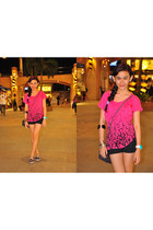black floral print shoes - light purple chanel bag - black black shorts