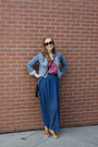 Jean-h-m-jacket-blue-blue-maxi-skirt-skirt-red-tank-red-floral-top