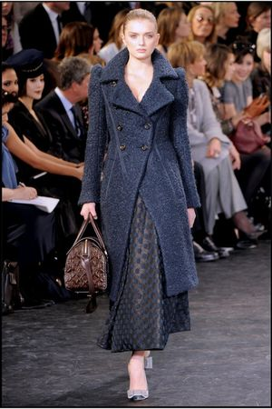 blue Louis Vuitton coat - brown Louis Vuitton purse - gray Louis Vuitton shoes -